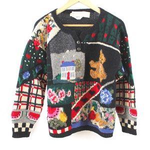 Vintage 80s Wool Sweater Sz Small Handknit Multi